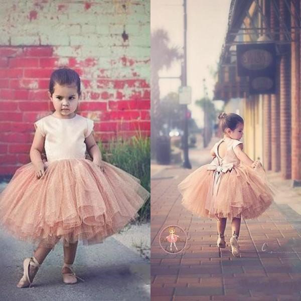 Pink Cute Flower Girls Dresses Jewel Ball Gown Tulle Bow Sash Back Lovely Kids Formal Wear Custom made