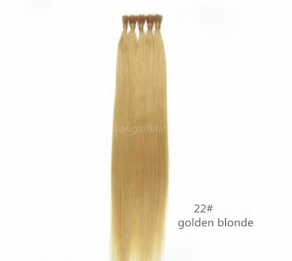 """Wholesale Prices Straight I-tip Brazilian Indian Peruvian Malaysian Remy Human Hair Extension 15"""" 80g 18""""-26"""" 100g 100s 22# Golden Blonde"""