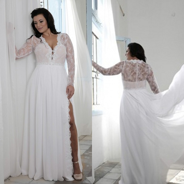 top popular Plus Size Wedding Dresses with Split Sheath Plunging V Neck Illusion Lace Long Sleeves Bridal Gowns Bohemian Boho Brides Formal Wear Cheap 2019