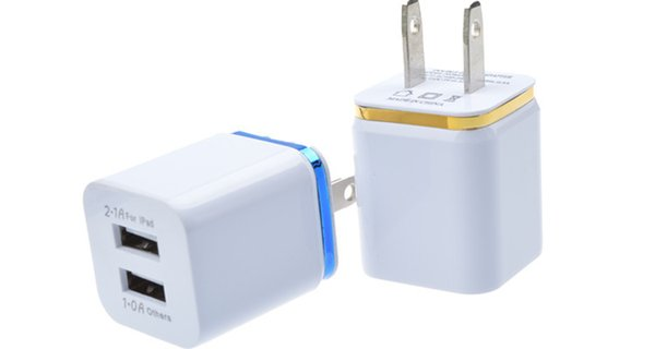 top popular Universal 2.1A Wall Charger US EU Plug Dual USB 2 Port AC Power Adapter 2 ports for iphone 6s 7 8 plus for Samsung HTC 2019
