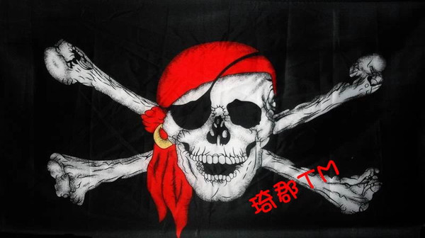 Pirate flag singele eye 3ft x 5ft Polyester Flying double Sides Printed Banner brass metal holes