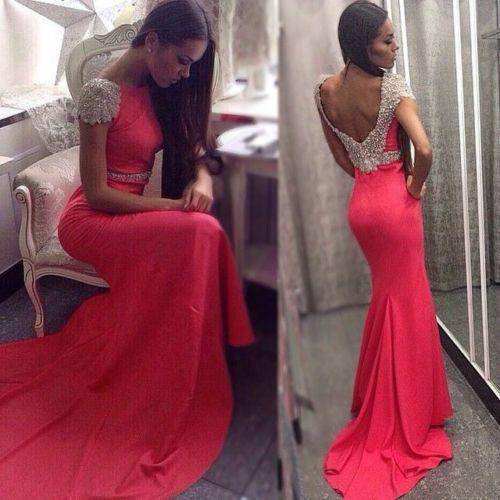 Crew Hot Mermaid Beading Evening Dresses 2015 Short Sleeve Crew Backless Sweep Train Hot Spandex Party Prom Gowns Custom made