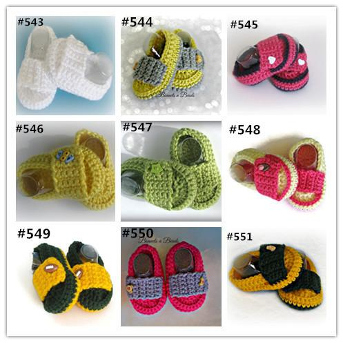 Crochet baby sandals first walker shoes 9 colors infant slippers delicate crocheting 0-12M cotton yarn