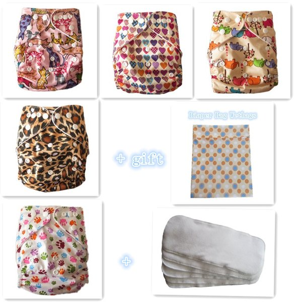 FreeShipping Baby Reuseable Pocket Cloth Diapers Nappy 5pcs+ 5 bamboo terry Inserts + 1 wetbag free gift