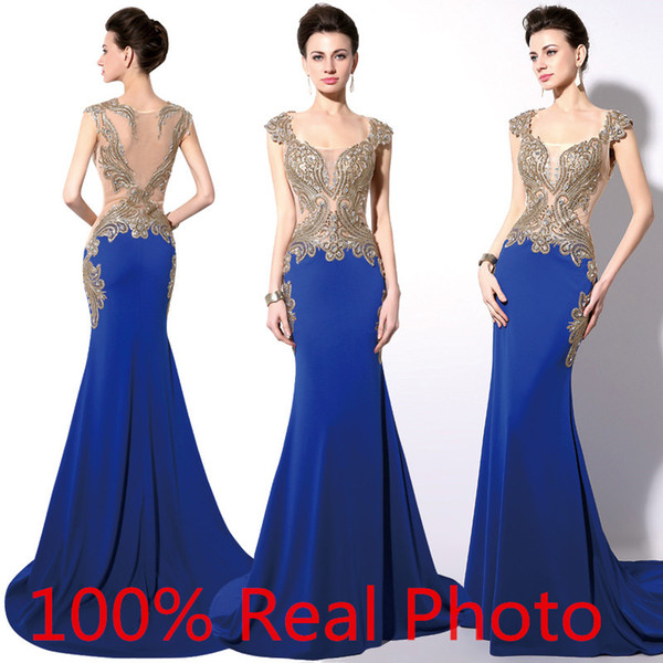 2016 In Stock Royal Blue Dubai Arabic Dresses Party Evening Wear Gold Embroidery Crystal Sheer Back Mermaid Prom Dresses Real Image Cheap