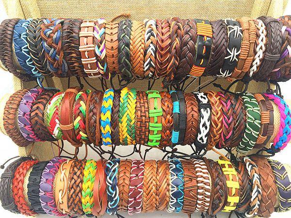 top popular Wholesale Bulk Lots 50pcs Lots Reteo Mix Styles Leather Cuff Bracelets For Men Women Wrist Jewelry 2021