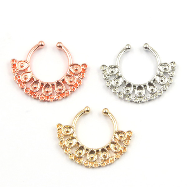 10pcs 3 color nose clip on hoop ring alloy plated rose gold and silver fake piercing faux septum ring for women N0040
