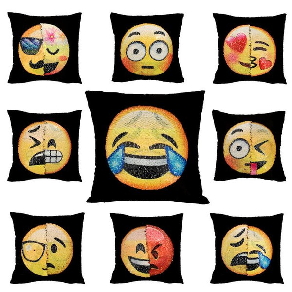 Lentejuelas de dos caras funda de almohada Cojín Emoji Smiley Cara Almohada Mágico Lentejuelas fundas de almohada decorativa sofá decoración IA921