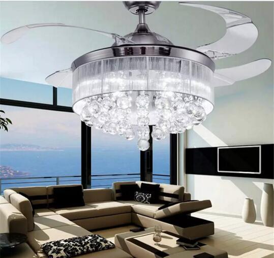 Led Fans Light AC 110V 220V Invisible Blades Ceiling Fans Modern Fan Lamp Living Room 42 inch Chandeliers Ceiling Light Pendant Lamp
