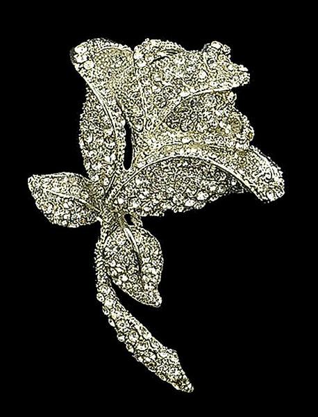 Large Size Full CZ Clear Rhinestone Crystal Zinc Alloy Rose Flower Vintage Look Bridal Brooch Pins
