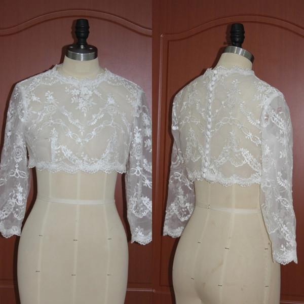 Real Photo 2019 Bridal Lace Bolero Jacket Wedding Dress Wrap Jewel Neck 3 / 4 Sleevs Wedding Bridal Accessories Custom Free Shipping EN12012