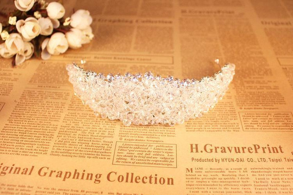 Dazzling Crown for Bride Fashion Wedding Accessories Beads Headpieces for Girls Party Real Image In Stock Bridal Tiara CPA495