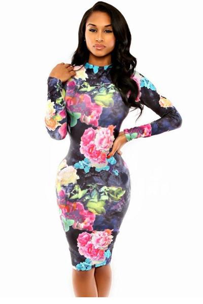 Tie Dye Flora Print Dress LC6959 FG1511