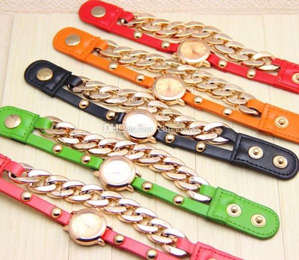 Moda reloj de pulsera de cuero cadena de metal estudiante niñas pulsera reloj de pulsera de cuarzo reloj relojes