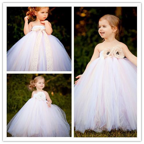 Vestidos de las muchachas de flor para bodas Vestidos de boda de playa para niños Vestido de las muchachas Vestido de princesa sin tirantes y sin espalda dulce Vestidos de las muchachas de flor