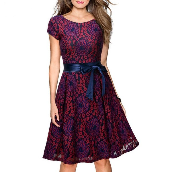 Elegant Womens Wedding Party Short Sleeve Sexy V-back Knee-Length Belted A-Line Vintage Floral Lace Dress Short 2018