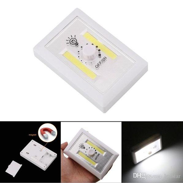Dimmbare LED-Nachtlichter batteriebetriebene COB LED Cordelss Lichtschalter einstellbare Helligkeit + Klebestreifen enthalten