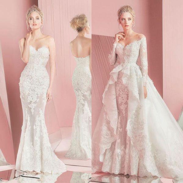 top popular 2020 Zuhair Murad Mermaid Lace Wedding Dresses Long Sleeves Detachable Train Sweetheart Neckline Applique Bridal Gowns Custom Made 2020