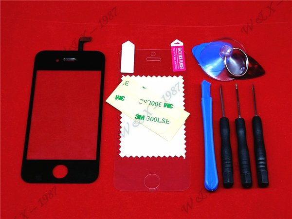 Wholesale-Black Front Glass Lens + Touch Screen Digitizer For iPhone 4 4S 4G Replacement for Mobile Phone LCD Screen Case