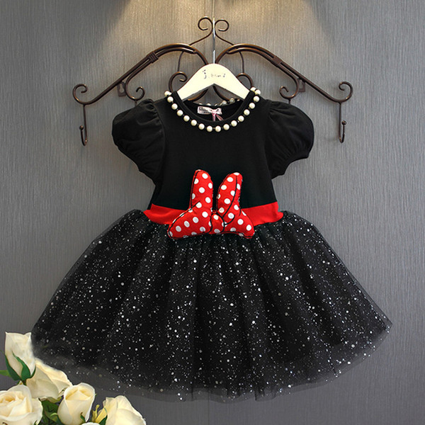 Girls Dress Bowknot Lace Dress Summer Kids Polka-dot Tutu Gauze Dress 2 Colors 5 p/l Free Shipping