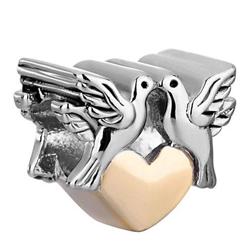 Love and Build Peace Together Doves Bead In Rhodium Silver Color and Gold Plating Charm Fit Pandora Bracelet