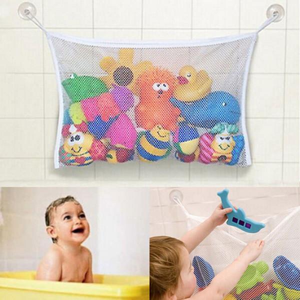 Wholesale- Hot Sale Creative Folding Eco-Friendly Baby Bathroom Hanging Mesh Bag Child Bath Toy Storage Bag Net Suction Cup Baskets