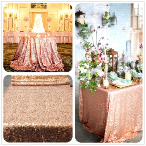 top popular Rose Gold Sequin Table Cloth, Shimmer Sparkly Overlays Tablecloths for Wedding Party Sequin Tablecloth Cocktail Table 2020