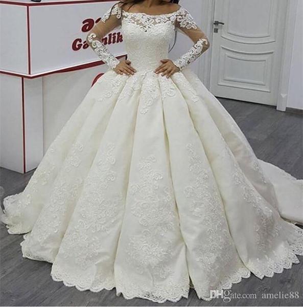 Vestidos de boda del vestido de bola del satén de la manga larga de la ilusión de la vendimia 2017 Vestido blanco del cuello del barco Apliques de marfil de satén hinchado ver a través del vestido nupcial