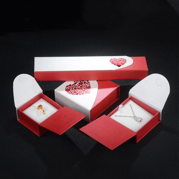 Caixa de Jóias De Papel elegante Anel Pingente de Colar Pulseira Pulseira de Jóias Embalagem de Papelão Caixas De Presente 10 Peças por lote Atacado