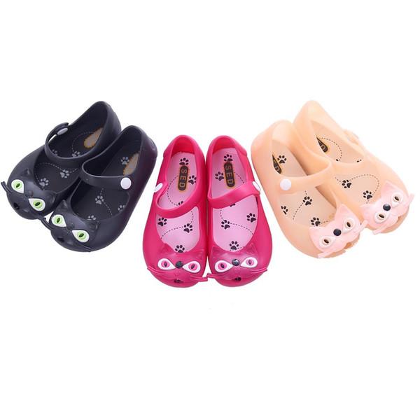 Мини мелиссы девушка сандалии 2015 горячая распродажа новый обычный дождь загрузки детская летняя желе маленький кот детей малышей дети обувь Zapatos