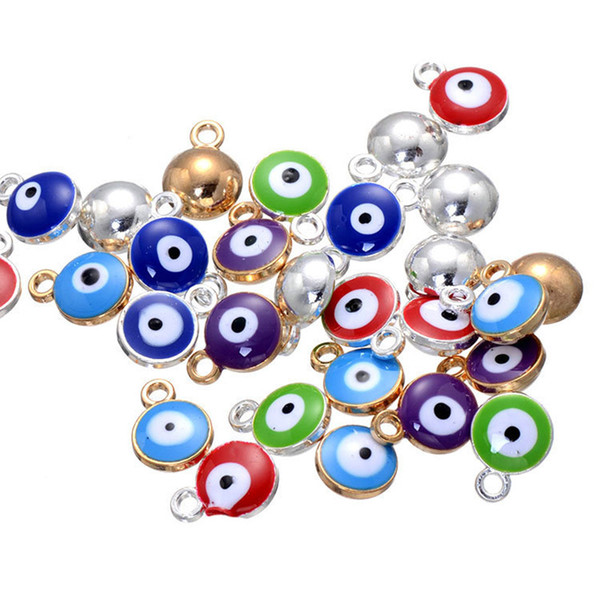 1000pcs 2*12*9mm Turkish amulets Evil Eye charms pendant alloy silver gold color enamel runes beads charms pendant for diy jewelry ACH0004