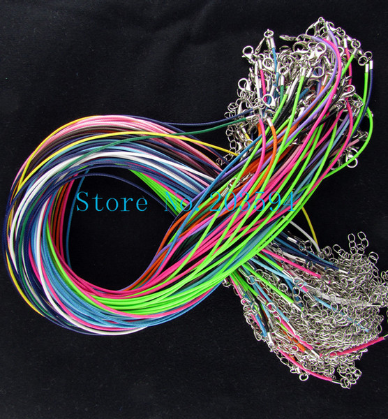 "18"" 1mm Wax Cord Necklace Lobster Clasp Jewelry Fit Charms mix colors 100pcs"