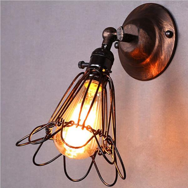 2016 New Modern Vintage Birdcage Wall Light Lampshade Metal Industrial Retro Lamp Shade Holder led wall light For E27 Light Bulb