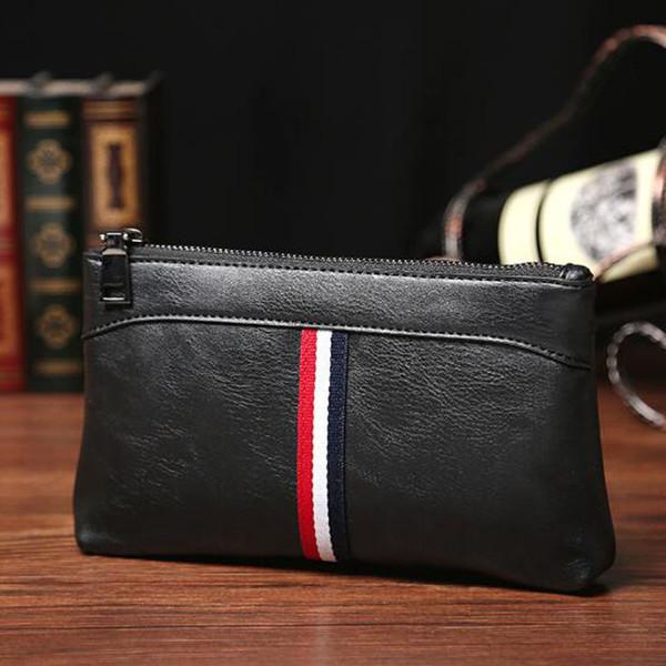 Color de moda de cuero de los hombres bolso de mano casual para hombre ropa deportiva de los hombres bolso de mano bolso de la PU carteras envío gratis