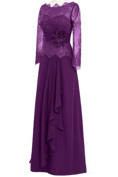 Long Grape Purple Mother of the Bride Dress Lace Long Sleeve Handmade Flower Chiffon Column Women Formal Gowns Custom Size