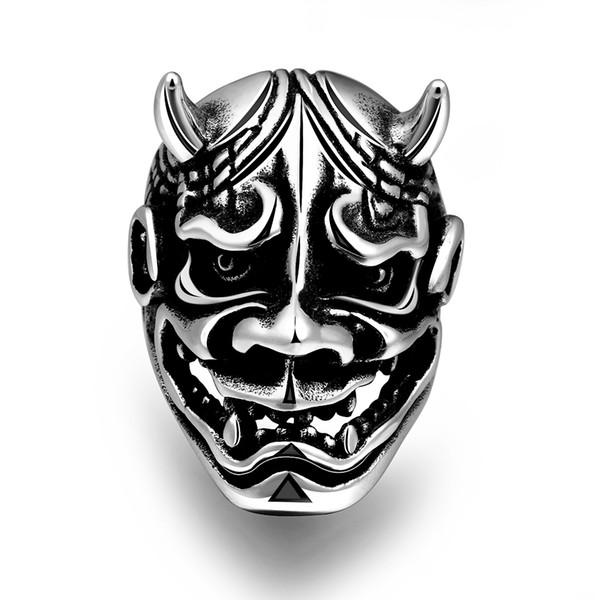 316L Stainless Steel Men's Gothic Punk Halloween Devil Mask Biker Ring US Size#8-11