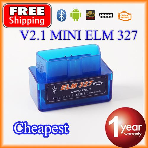 Wholesale-Cheapest Super MINI Bluetooth ELM327 V2.1 OBD2 / OBDII ELM 327 for Android Torque Car Code Adapter FREE SHIPPING