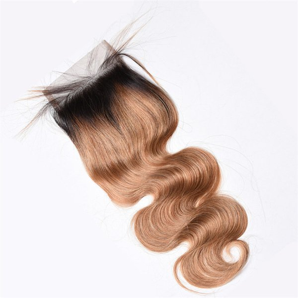Ombre Honey Blonde 4*4 Lace Closure With Baby Hair Around Body Wave Brazilian Virgin Human Hair 1pc T1b 27 Top Closure Bleached Knots