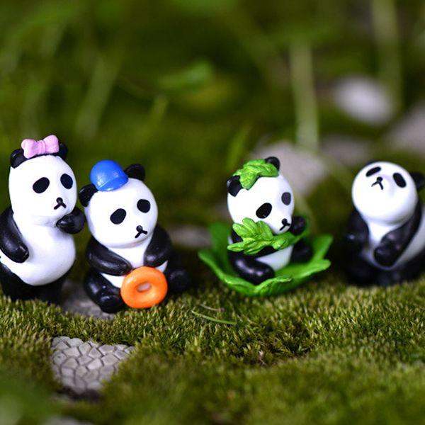 8pcs Panda Toys Figurines Resin Crafts Fairy Garden Miniatures Bonsai Tool terrarium Dollhouse Ornament Jardin Gnomes Home Decor Accessories