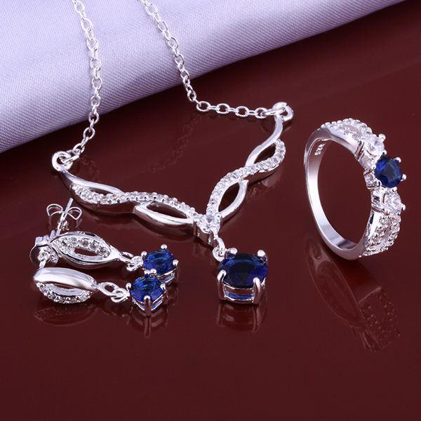best selling 2014 New Fashion 925 Sterling Silver Jewelry Set with Blue Zircon Crystal ring earrings necklace jewelry sets for women AS639
