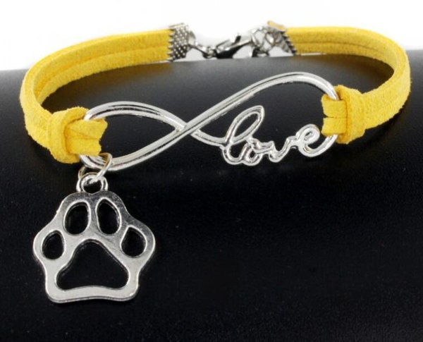 10pcs Vintage Silver Infinity Bear's Paw Dog Paw Prints Charms Bracelets Bangle For Women Mixed color Velvet rope Bracelets Accessories Gift