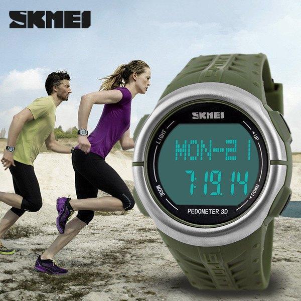 SKMEI 1058 Nabız İzle pedometre Spor LED erkekler kadınlar için saatler 50 m su geçirmez dijital İzle spor kalori sayacı Kol ...