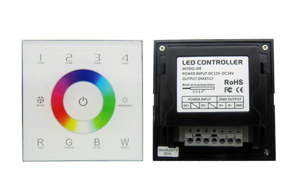 DMX512 Touch Panel RGBW D8 Led Dimmer Dimming Controller DC 12-24V For Led Strip Light DIY 5pcs/lot