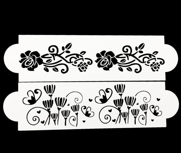 Wholesale- 2 Pcs Flower Lace Cake Stencil Cookie Fondant Rose Baking Cake Kitchen Cupcake Decoration Template Mold