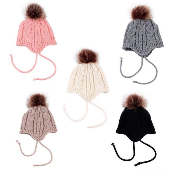 2017 Hats Winter Girls Fur Pom Pom Knitted Wool Kids Cap Warm Kids Toddler Beanie 5 Styles Christmas Best Gifts Free Shipping