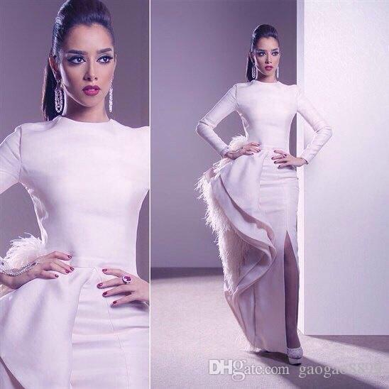 Ashi Studio White Feather Long Mermaid Split Evening Dresses High Neck Long Sleeves Luxury Muslim Arabic Occasion Prom Gowns Cheap