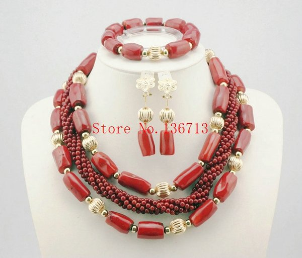 2016 luxury african coral beads necklace set nigerian wedding african beads jewelry set Free shipping HD304-2