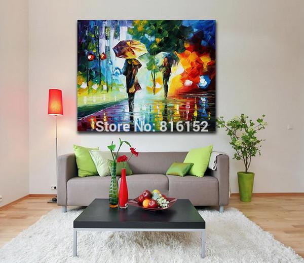 Acheter Palette Couteau Peinture À L\'huile Nuit Lumineuse Marcher Sous La  Pluie Image Imprimé Sur Toile Murale Art Pour Salon Chambre Décoration ...