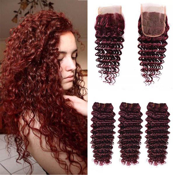 99J Wine Red Brazilian Human Hair Weave Deep Wave With Lace Closure Brazilian Deep Wave Hair 3 Bundles With 1PC 4x4 Lace Closure