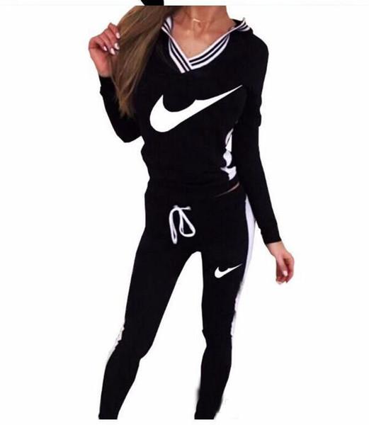 Compre 2017 Marca Chándal Mujeres Sport Suit Hoodie Sudadera + Pantalón Jogging Femme Marque Survetement Sportswear 2 Unid Set A $21.11 Del Triumphal